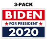 "(3-Pack) Political Campaign Yard Sign, Joe Biden 2020, Double-Sided, 18"" x 12"""