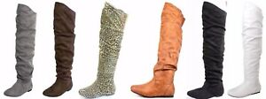 Women's Comfort Over The Knee Thigh High Flat Heel Slouch Boot Shoes Sz 5-10