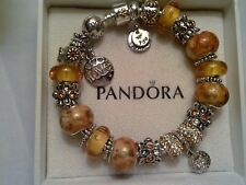 Authentic Pandora Sterling Silver Bangle with (Murano Glass Beads) 7.5 inches
