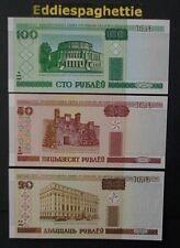 Belarus 100,50,20 Rublei 2000 UNC P-24,25a,26a