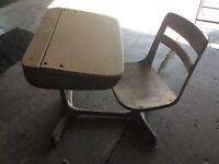 Antique Wood Wooden & Metal School Desk Flip Top Attached Chair