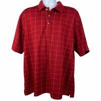 Nike Golf PGA Tour Men's Size XL Red Pinstriped Short Sleeve Polo Shirt