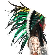 Feather Headdress- Native American Indian Inspired -ADJUSTABLE- Rasta