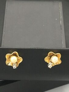 Avon Jewelry, pierced earrings gold toned w faux Pearl and clear stone  NOS  A22