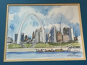 Vintage Gateway Arch St. Louis Mixed Media Illustration Art Wall Hanging Signed
