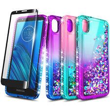 For Motorola Moto E6 Case Liquid Glitter Bling Phone Cover + Tempered Glass