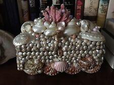 Seashell, Coral, Abalone Encrusted Pink Jewel Boudoir Box Marie Antoinette Decor