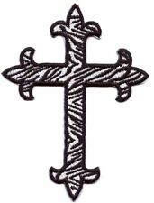 Fleur de Lis Cross - Zebra/Black Outline - Iron on Applique/Embroidered Patch