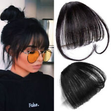 Women Thin Neat Air Bangs Human Hair Extensions Clip In Fringe Front Hair  Piece 70a779c9a2