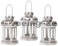 3x Dekorative Metall-Laterne Kerzenlaterne Deko Laterne Kerzenlicht Farbe silber