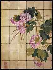 24x32 Hibiscus Backsplash Mural Tumbled Marble Tiles Kitchen Ideas Bing Yun