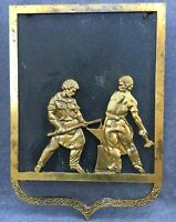 Large antique french fireplace aeration grid ornament brass early 1900's smith