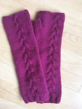 LOWIE Fingerless Gloves Wool Angora Fuschia Cerise Pink Purple Cable Knit Long