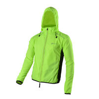 RockBros Long Sleeve Cycling Jersey with Hood Cap Wind Rain Coat Green