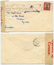 SOUTH AFRICA to MALTA WAR CENSOR TAPE + TRIANGULAR TARXIEN + 1d SHIP 4 SEP 1939