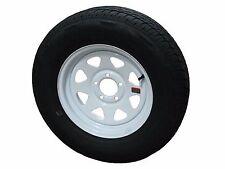 """*2* ST185/80R13 LRD 8 PR RN Radial Trailer Tires on 13"""" 5 Lug White Spoke Wheels"""