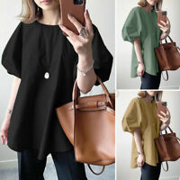 Women Puff Sleeve Crew Neck Tops Shirt Casual Oversized Baggy Blouse T-shirt Tee