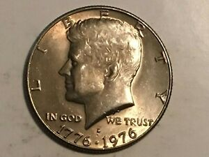 1976 D Kennedy Half Dollar struck through grease error coin in hall & stars