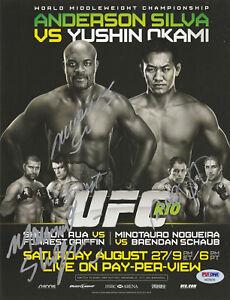 ANDERSON SILVA SHOGUN RUA SIGNED AUTO'D MINI POSTER PSA/DNA COA UFC 134 BIG NOG