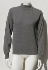 IMAGES Women's Heather Gray Soft 100% Cashmere Mock Neck Long Slv Sweater size M