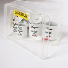 DOLLHOUSE Set 4 Canisters w Scoop Tea Flour Carradus 1569 Cherry Motif Miniature