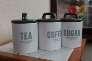 RETRO TEA COFFEE SUGER VINTAGE CLASSIC STYLE WHITE GREY CLASSIC STYLE CEREMC JAR