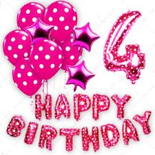 HAPPY 4TH BIRTHDAY THEME FOIL BALLOONS Polka Dot Latex Baloons Kids Party Baloon