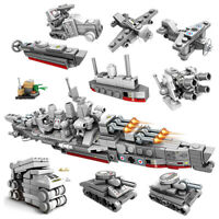 240pcs 10in1 Warship Building Blocks sets with Soldier Figures Toys Bricks