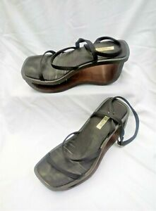 Vintage CATERINA LUCCHI Wooden Cut Out Wedge Heel Ankle Strap Sandals 6.5 EUR 37