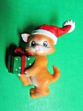Vintage Santa Hat Christmas Present Kitty Cat Resin Lapel Pin (16)