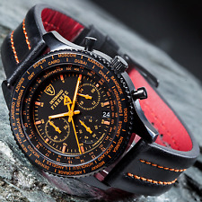 New DETOMASO Firenze Chronograph Mens Watch Black S-Steel Orange Indices