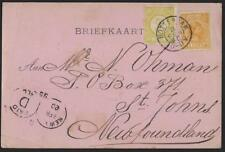 NETHERLANDS CANADA 1895 POST CARD FRANKED 2¢ & 3¢ PERF 12 1/2 Sc 36 & 40 TIED