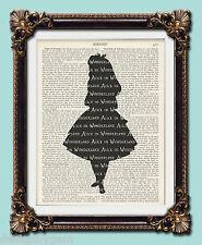 """Alice In Wonderland silhouette Antique vintage encyclopaedia print 10"""" x 8"""""""