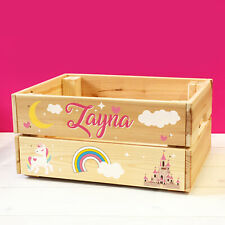 Personalised Kids Toy Unicorns & Fairy Tale Castle Wooden Toy Box For GIRLS