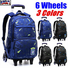 US 6 Wheel Kids Boy Girl Trolley Backpack Student School Bag Travel Luggage Pack