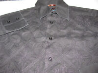 Roar Men's Long Sleeve Button BLACK XL Shirt FULL Embroidered