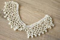 Crochet Pearl Cream Collar 7cm x 30cm Applique Sew On