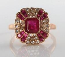 9CT 9K ROSE GOLD INDIAN RUBY & DIAMOND ART DECO INS RING FREE RESIZE