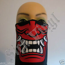 Japanese bandana face mask dust mask Hannya Overlord matte red and white