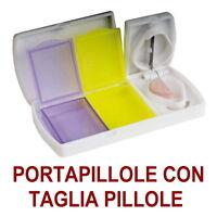PORTA PILLOLE Pasticche PASTIGLIE 2 SCOMPARTI SETTIMANA TAGLIA PILLOLE Medicine