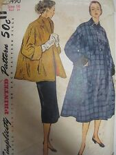Vintage 1940's Simplicity 8490 COAT w/ SHAWL COLLAR Sewing Pattern Women Sz 16