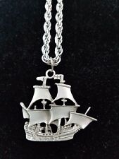 Tall Ship Pirate Pewter Silver Metal Rope Chain Necklace Large Pendant Charm