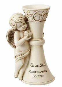 Grandad Grave Memory Memorial Flower Vase Winged Cherub And Heart Cream Plaque