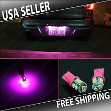 2 pc Pink LED License Plate Light Bulbs 10-LED T10 Wedge Push Type
