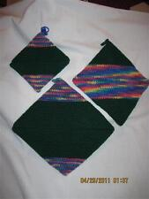 AWESOME THICK Crochet Potholders set of 3.....Green & Rainbow.....Hand made