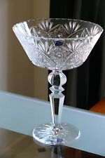 LARGE 24% LEAD CRYSTAL PEDESTAL BOWL / FRUIT VASE, HAND CUT, LACE PATTERN