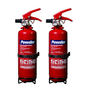 NEW 2 x 1 KG DRY POWDER FIRE EXTINGUISHER FOR HOME/OFFICE/CAR/BOAT