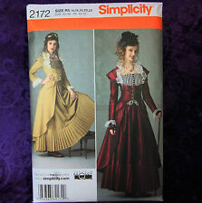 Simplicity 2172 Steam Punk Suit Long Coat Bustier Skirt Costume Pattern sz 14-22