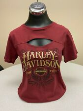 Harley-Davidson® Women's Sculpted Burgundy Peep Front Short Sleeve Shirt Size XL