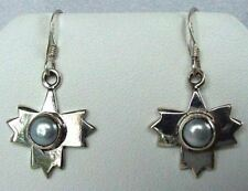 Snowflake! 925 Sterling Silver with Cream Freshwater Pearl Dangle Earrings 4718